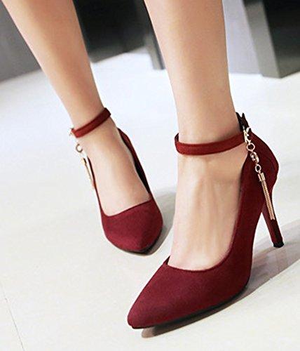 Pointu Bout Talon Haut Femme Rouge Aisun Sexy Escarpins q4w1pnt