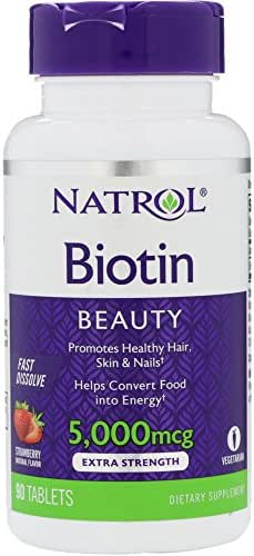 Natrol General Health Biotin 5,000 mcg Fast Dissolve, Strawberry  Flavored 90 tablets (a),pack of 2