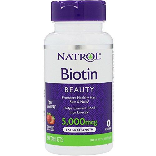Natrol Biotin 5,000mcg Fast Dissolve, 90 Tablets (Pack of 3)