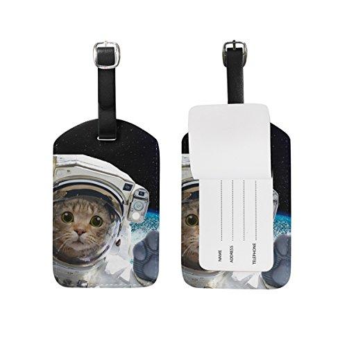 U LIFE Cat Galaxy Planet Universe Space Star Luggage Tag Travel Baggage Tags (Luggage Tag Star Wars)