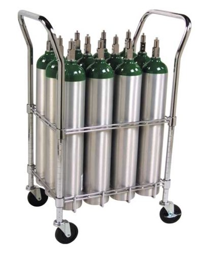 Oxygen Tank Cart with heavy duty casters and brakes - Holds 12 Size E Oxygen Cylinders