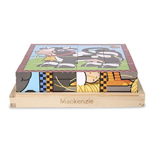 Melissa & Doug Personalized Farm Wooden 6-in-1 Cube Puzzle with Storage Tray (16 Piece) ()