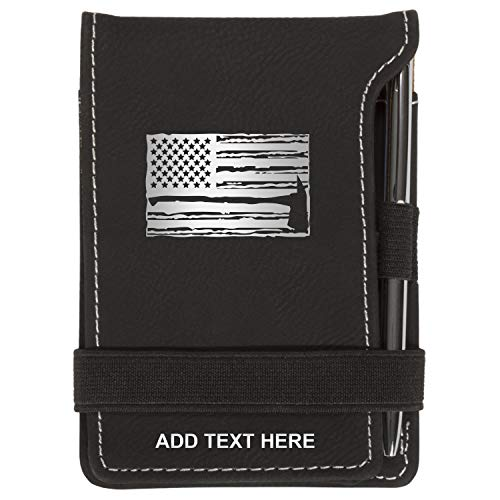 Personalized US Flag & Firefighter Axe Mini Notepad Holder Set for Business Professionals - Pocket Memo Pad - Includes Mini Note Pad and Pen to Jot Notes and Writing To Do List, Black & Silver