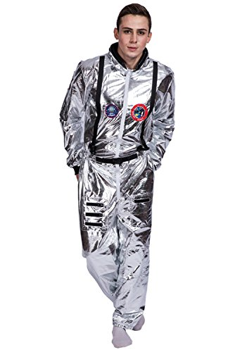 Halloween Astronaut Costumes Outfit Shiny Silver Pilot Astronaut Cosplay Suit for Adults -
