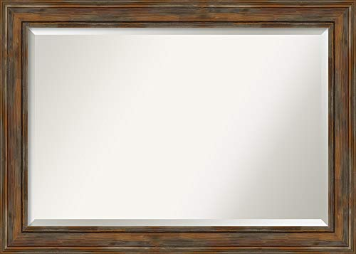 Amanti Art Framed Alexandria Rustic Brown Solid Wood Wall Mirrors, X-Large,