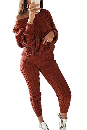 Womens Tracksuit, Knit Off Shoulder Long Sleeve Two Piece Tracksuit Outfits Sexy Jumpsuits Sweatsuit Set