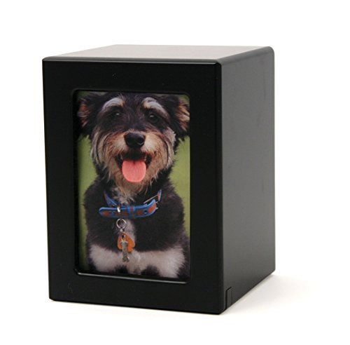 Photo Pet Urn Handcrafted of MDF with a Black Finish Includes Free Liberty Microfiber Cleaning Cloth by Terry - Pictures Handcrafted