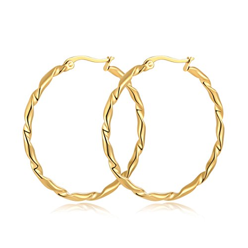 Yumay 10K Yellow Gold Plated Large Hoop Earrings for Women,40MM Hand-Twisted Style Hoop Earrings for girls. ()