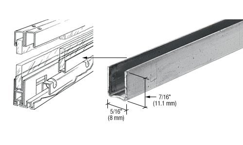 CRL Zinc Plated Steel Roll-Ezy Shoe for Glass Doors - 72'' by CR Laurence