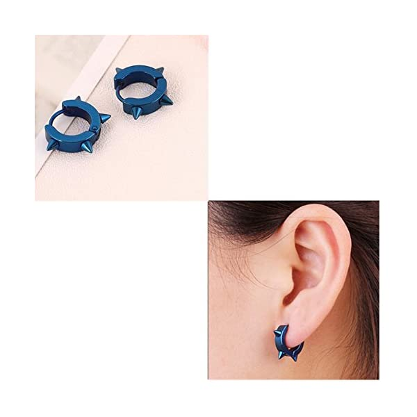 Stainless Steel Hoop Spike Punk Earrings for Men Or Women Jewelry Piercing Huggie earrings