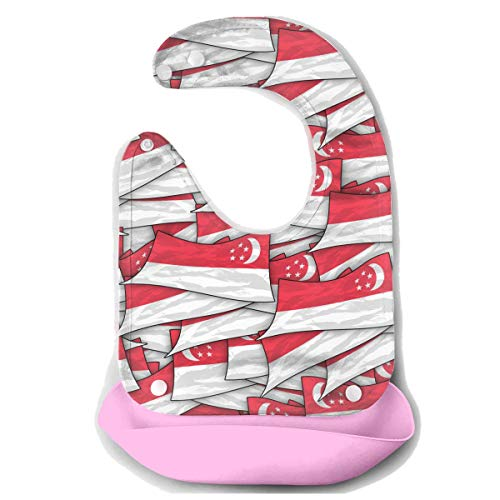 Singapore Flag Wave Collage Baby Bibs Waterproof For Babies And Toddlers Easily Wipes Clean Comfortable Soft