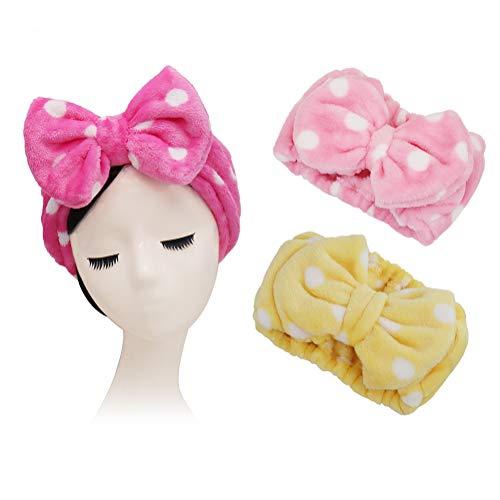 Shintop 3 Pack Flannel Cosmetic Headbands, Bowknot Elastic Hair Band Hairlace for Washing Face Shower Spa Makeup (Pink Polka Dots+ Rose Polka Dots+ Yellow Polka Dots)