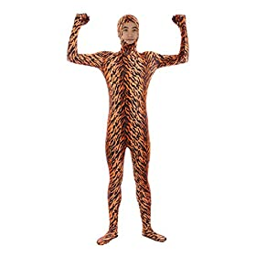Sheface Kids Spandex Tiger Face Out Zentai Bodysuit Costumes Kids Small P13