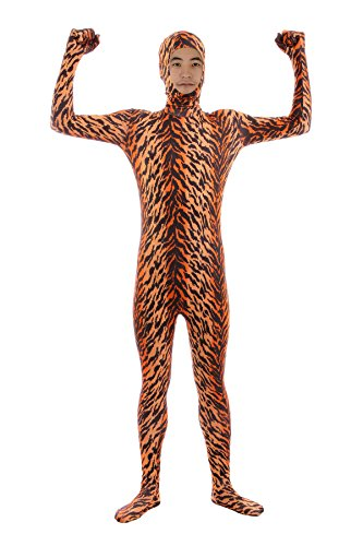 Sheface Spandex Face Out Second Skin Zentai Full Body Costume (Medium, Tiger)