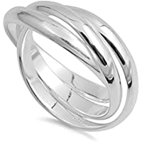 Double Accent Sterling Silver Plain Russian Wedding Ring Trinity Interlocking Rolling Band 9mm...
