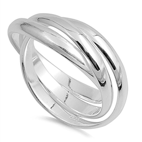Double Accent Sterling Silver Plain Russian Wedding Ring Trinity Interlocking Rolling Band 9mm (Size 4 to 13) Size 10
