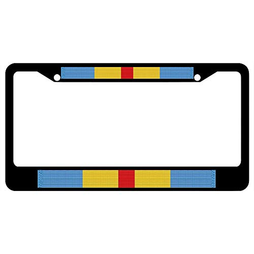 URCustomPro Department of Defense Distinguished Service Medal Ribbon Black License Plate Frame Military Pride, 2 Holes Stainless Steel Auto Car License Plate Cover Holder for US -