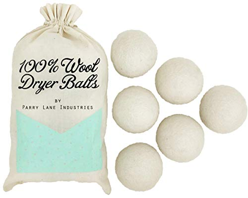 Wool Dryer Balls by Parry Lane, 100% New Zealand Wool, Reusable 6-Pack, Made in Nepal, Natural Dryer Sheet Alternative and Fabric Softener, Removes Lint from Laundry