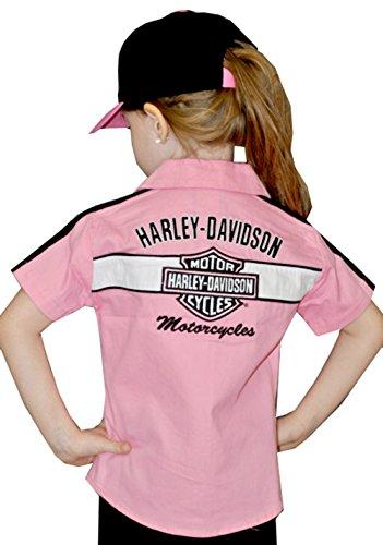 - Harley-Davidson Girls Youth Prestige Woven Pit Crew Short Sleeve Shirt Pink (6X)