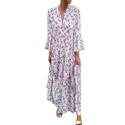 Sunhusing Ladies Summer V-Neck Small Floral Print Ruffled Long-Sleeve Party Dress Bohemian Long Maxi Dress Purple]()