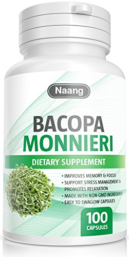 400 Mg Supplements Herbs - Bacopa Monnieri 100 Capsules 400mg Supplement for Memory and Brain Health Function, Concentrated Herb Extract to Support Focus and Enhanced Memory by Naang