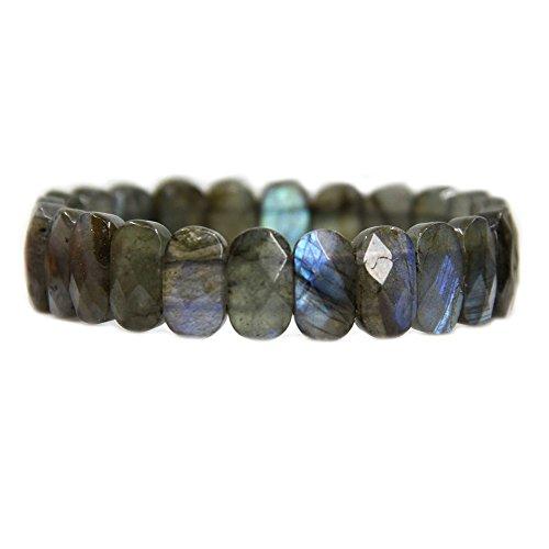 Amandastone Labradorite Gemstone 14mm Faceted Oval Beads Stretch Bracelet 7