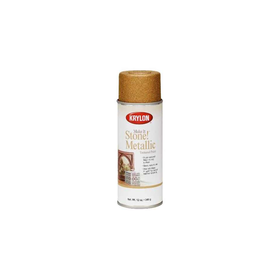 Krylon K08260 Make It Stone Metallic Textured Aerosol Spray Paint, 12 Ounce, Gold