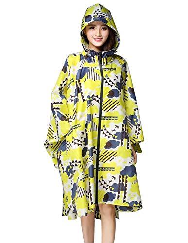 Gelb Gelb Ragazza Impermeabile Leggero Punti Punti All'Aperto Impermeabile Poncho Huixin Fiori Impermeabili Solidi Donna Colori Cappuccio con vqxwA6w8