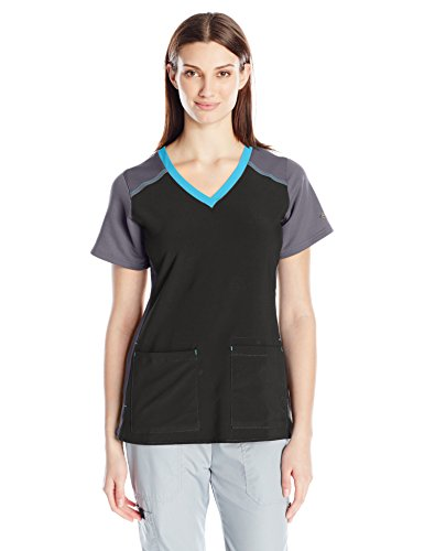 Carhartt Cross-Flex Women's Mulit Color Knit Mix V Neck Scrub Top, Black, Medium