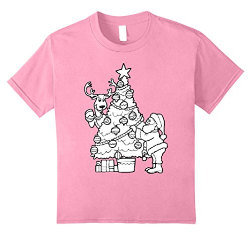 Tree Costume Christmas Diy (Kids DIY Christmas Tree Santa Emoji Coloring Book T-Shirt Costume 10)