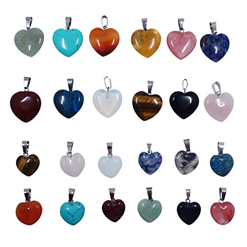levylisa Assorted Color 24pcs Heart Shape Stone Pendant, Designer Stone Pendant,Fancy Stone Pendant Agate Stone Pendant,Heart Shape Gemstone,Heart Shape Beads-Supplies,Jewelry Making Supply ()