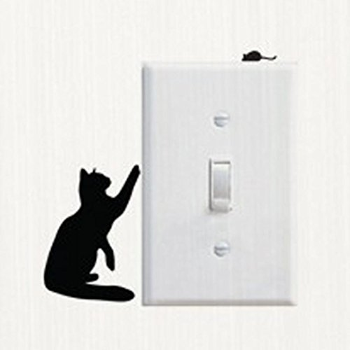 Woaills Switch Sticker, Vinyl Cartoon Cat And Mouse Wall Dec