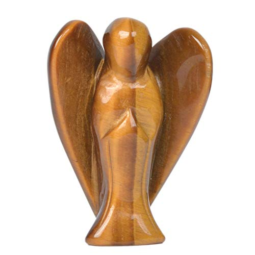 Carved Golden Tiger Eye Gemstone Peace Angel Pocket Guardian Angel Healing Statue 2 inch