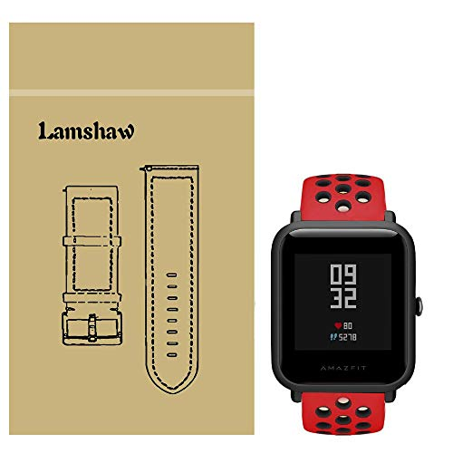 for Xiaomi Amazfit Bip Band, Lamshaw Classic Silicone Sport Replacement Straps for Xiaomi Huami Amazfit Bip Younth Watch (Ventilation Holes Silicone_Red+Black)