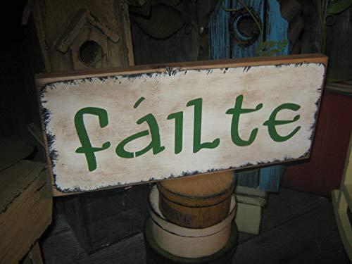 Halloween Phrases In Irish (Adonis554Dan Very Primitive Wood Irish Subway Wood Sign Icon Expression FAILTE Irish Welcome in Gaelic ST Patricks Holiday Housewares Country)