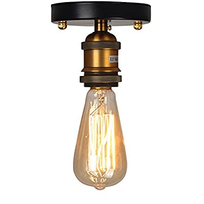 Single Head Vintage Ceiling Light Retro Flush Mount E27 Lamp Holder Antique Sconce Wall Lamp Industrial Country Style For Restaurant Bar Cafe