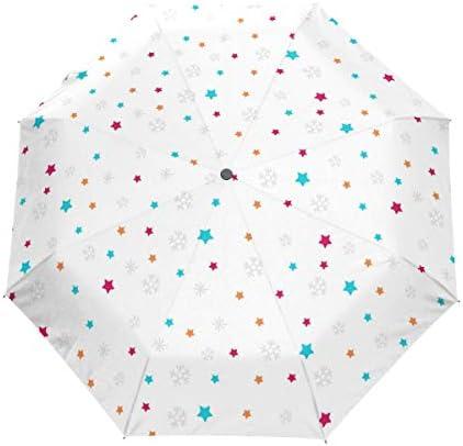 Akiraki 折りたたみ傘 レディース 軽量 ワンタッチ 自動開閉 メンズ 日傘 UVカット 遮光 星 星柄 カラフル 可愛い かわいい ホワイト 折り畳み傘 晴雨兼用 断熱 耐強風 雨傘 傘 撥水加工 紫外線対策 収納ポーチ付き