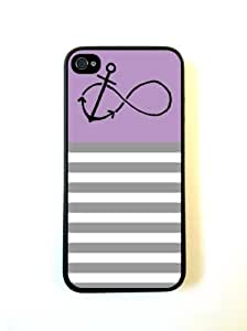 Anchored-Forever Violet & Grey Stripes Black iPhone 5 Case - For iPhone 5/5G - Designer PC Case Verizon AT&T Sprint