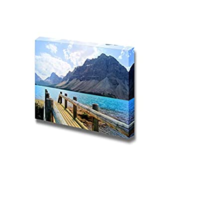 Beautiful Landscape Scenery View Over a Wooden Bridge at Bow Lake Banff National Park Canada Wood Framed - Canvas Art Wall Art - 24