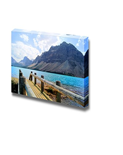 Beautiful Landscape Scenery View Over a Wooden Bridge at Bow Lake Banff National Park Canada Wall Decor Wood Framed