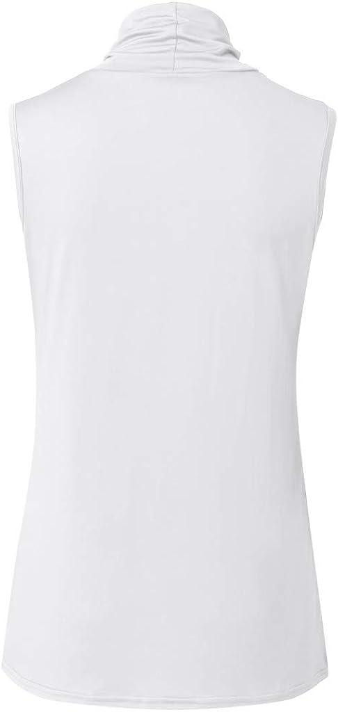 Teresamoon Womens Elegant Summer Sleeveless Blouse Top Flowy Tank Tops High Collar Shirts