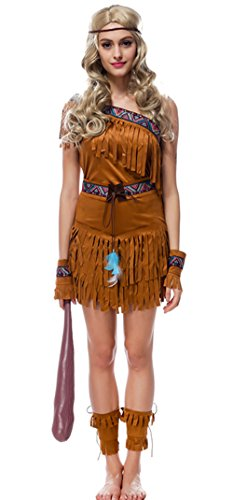 Native Indian Maiden Princess Costume Nuoqi Women's Halloween Cosplay Dress