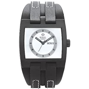Royal London Men's Quartz Watch with White Dial Analogue Display and Black Leather Strap 40124-04
