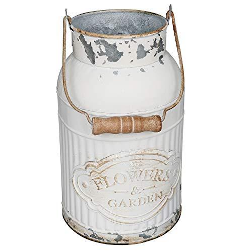 VANCORE Shabby Chic Metal Milk Jug Planter Metal Vases for Decor Rustic Flower Bucket Farmhouse Decorative Vases (Milk Decor)