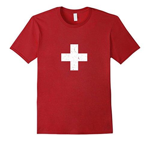 Switzerland Flag T-shirt (Men's Switzerland Swiss Flag Vintage T-Shirt Medium Cranberry)