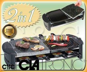 raclette con grill pietra ollare bistecchiera da tavola clatronic ... - Cucinare Con La Pietra Ollare
