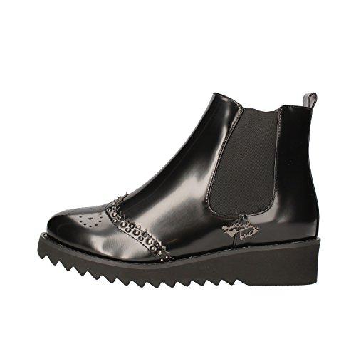 BRACCIALINI Ankle Boots Woman Black Leather AF383 (6 US / 36 EU)