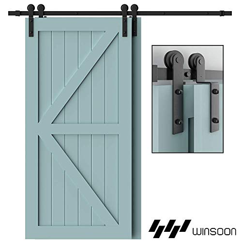 WINSOON 9FT Single Track Bypass Sliding Barn Door Hardware Kit for Double Doors, Low Ceiling, Easy Mount, Heavy Duty, Slide Quietly and Smoothly