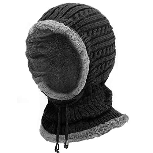 Muuttaa Kint Winter Hats, 3-in-1 Cold Weather Beanie with Flexible Neck Guard,Hats for Outdoor Sports Cycling Motorcycle Ski (Black)