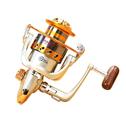 (Skyout Stainless Steel Fishing Reel, Aluminum Alloy Wire Cup Wooden Grip Fishing Reels Spinning Reels Bearing 12BB Speed Ratio 5.2:1 Left/Right Interchangeable Saltwater Fishing Reel)